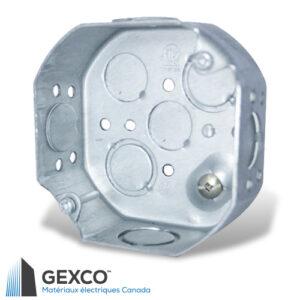 """Boîte octogonale 54151-k de 4"""" de qualité en acier galvanisé de 1,3mm, avec débouchures concentriques et vis de mise à terre surélevée."""