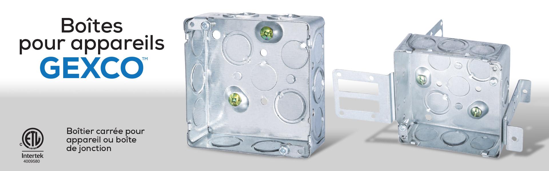 Boîtes pour appareils ou de jonction de 4″ en acier GEXCO sont fabriquées avec des bébouchures concentriques, vis de mise à terre surélevée.