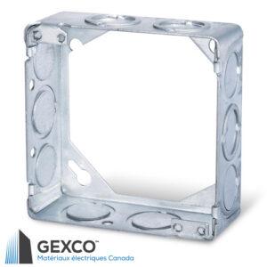 """Boîte d'extension carrée 53151-K de 4"""" de qualité avec anneau d'extension concentrique. Fabriqué d'acier galvanisé de 1,3mm d'épaisseur."""
