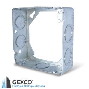 """Boîte d'extension 53171-K carrée de 4"""" avec anneau d'extension concentrique. Faites d'acier galvanisé."""