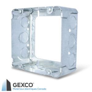 """Boîte d'extension 73171-K carrée de 4"""" avec anneau d'extension concentrique. Faites d'acier galvanisé."""