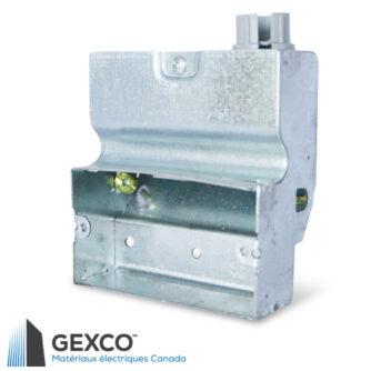 Boîte pour appareil 2000 à profil bas non groupable est pourvue d'un connecteur en plastique pour câble. Faite d'acier galvanisé.
