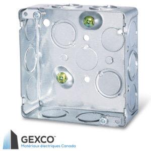 """Boîte pour appareil ou de jonction carrée 52151-k de 4"""" avec débouchures concentriques et vis de mise à terre surélevée."""
