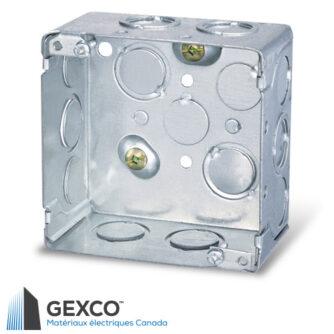 """Boîte de jonction carrée 52171-K de 4"""" avec débouchures concentriques et vis de mise à terre surélevée. Faite d'acier galvanisé."""