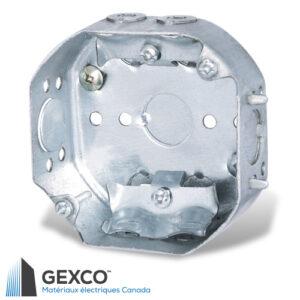 """Boîte octogonale 54151-L de 4"""" avec brides pour câbles non métallique et guides de positionnement en retrait de 1/2""""."""