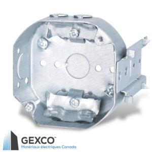 """Boîte octogonale 54151-LB de 4"""" avec brides pour câbles sous gaine non métallique, équerre de montage, pointes de fixation et guides de positionnement."""