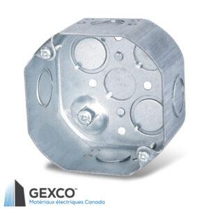 """Boîte octogonale 54171-K de 4"""" profonde avec débouchures concentriques et vis de mise à terre surélevée. Faite d'acier galvanisé."""