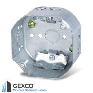 """Boîte octogonale 54171-L de 4"""" avec brides pour câbles non métallique. En acier galvanisé."""