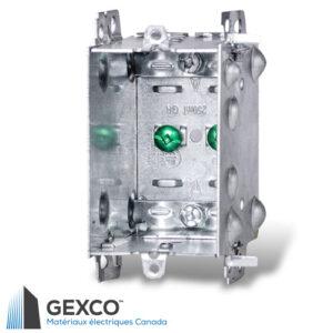Boîte de dispositif 1004-LH avec brides, groupable avec pointes de positionnement pour clou externe et 2 fentes de montage en relief pour montage à vis interne.