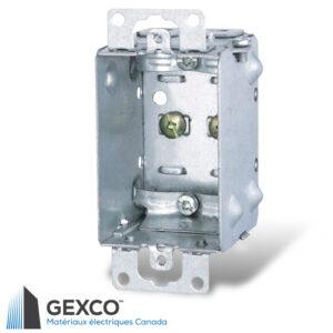 Boîte de dispositif 1100-L avec brides pour câbles armés et sous gaine non métallique, groupable avec oreilles en surface.