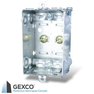 Boîte de dispositif 1100-LLE avec brides pour câbles armés et sous gaine non métallique, groupable et sans oreilles.