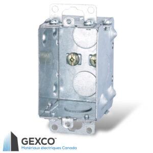 Boîte de dispositif en acier 1102-K groupable avec avec 6 débouchures concentriques et oreilles en retrait.