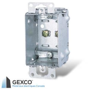 Boîte de dispositif avec brides pour câbles armés et sous gaine non métallique, groupable avec oreilles en surface.