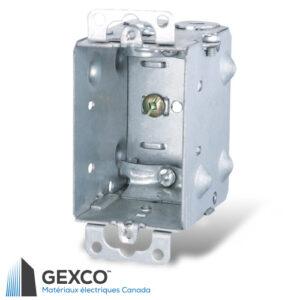 Boîte de dispositif 1104-L avec brides pour câbles armés et sous gaine non métallique, groupable avec oreilles en surface.