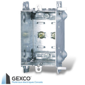 Boîte de dispositif 1104-LH avec brides, groupable avec pointes de positionnement pour clou externe et deux fentes de montage en relief.