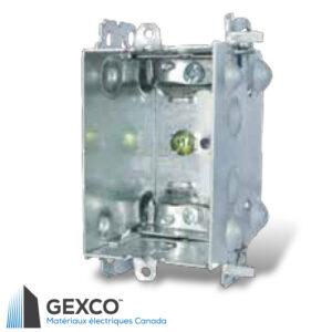 Boîte de dispositif 1104-LHA avec brides, groupable avec pointes de positionnement pour clou externe et deux fentes de montage en relief.