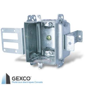 Boîte de dispositif à haute tension 1204-LSSAX-HV avec équerre de montage pour colombages d'acier. Faites d'acier galvanisé.