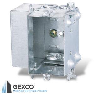 Boîte de dispositif 1804-LH avec brides de capacité supplémentaire. Guides de positionnement pour clouage externe. X-Cube ajoute 5,5 po. cu.