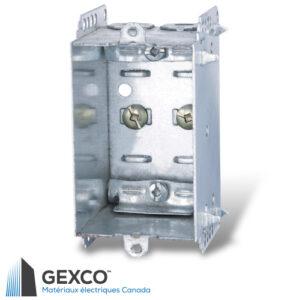 Boîte de dispositif 2104-LLE avec brides, pointes de fixation et guides en acier galvanisé.