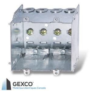 Boîte de dispositif double 2104-LLE2 avec brides, pointes de fixation et guides en acier galvanisé.