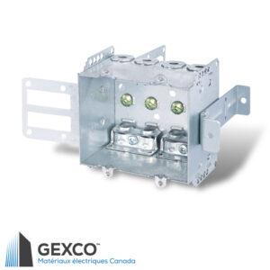 """Boîte de dispositif double 2104-LSSAX2 avec brides, équerre de montage pour colombages d'acier de 2 1/2"""" et 3 5/8"""" avec support intégré."""