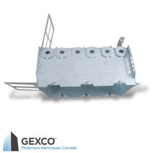 """Boîte de dispositif triple 2104-LSSAX3 avec brides, équerre de montage pour colombages d'acier de 2 1/2"""" et 3 5/8"""" avec support intégré"""