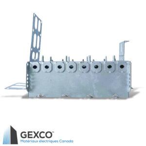 """Boîte de dispositif en acier quadruple 2104-LSSAX4 avec brides, équerre de montage pour colombages d'acier de 2 1/2"""" et 3 5/8"""" avec support intégré."""