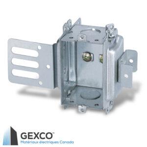 """Boîte de dispositif 3102-KSSX en acier avec équerre de montage pour colombages d'acier de 1 5/8"""" avec support intégré."""