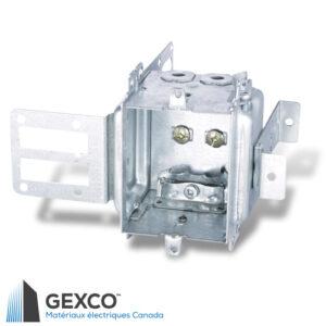"""Boîte de dispositif 3102-LSSAX avec brides, groupable avec équerre de montage pour colombages d'acier de 1 5/8"""" avec support intégré."""