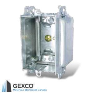 Boîte de dispositif 3104-LHA avec brides, groupable avec pointes de positionnement pour clou externe en acier galvanisé.