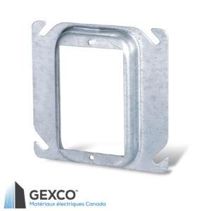 """Anneau de dispositif carré 52C13 de 4"""" simple, surélève de 1/2"""" à 2"""" en acier galvanisé."""