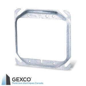 """Anneau de dispositif carré 52C17 de 4"""" double, surélève de 1/2"""" en acier galvanisé."""